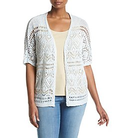 Relativity® Plus Size Marled Yarn Cardigan