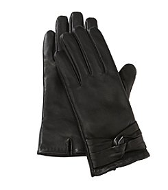 Isotoner Signature Basic Solid Leather With Knot Glove