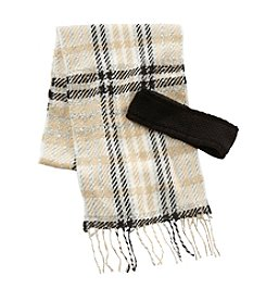 Echo Boucle Plaid Knit Scarf And Ear Warmer