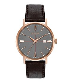 Bulova® Men's Classic Watch With Brown Leather Strap