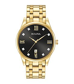 Bulova® Men's Goldtone Diamond Dial Watch
