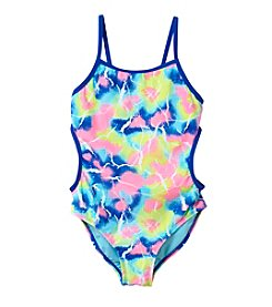Miss Attitude Girls' 7-16 Marble Sparkle Cutout 1-Piece Swimsuit