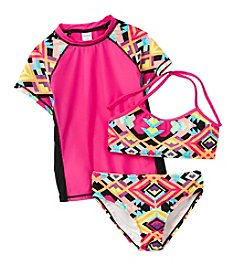 Miss Attitude Girls' 7-16 Geo Rashguard Set