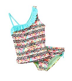 Miss Attitude Girls' 7-16 Electric One-Sholder Ruffle Tankini