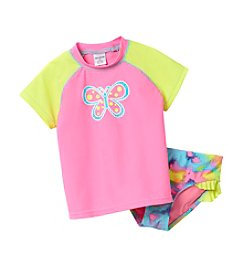 Miss Attitude Girls' 4-6X Butterfly Rashguard Set
