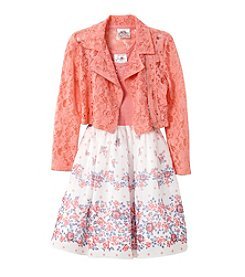 Beautees Girls' 4-6X Floral Dress and Moto Jacket