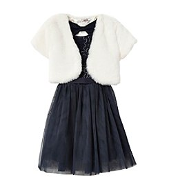 Beautees Girls' 4-6X Chiffon Dress And Fuzzy Shrug
