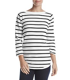 Jeanne Pierre® Striped Boat Neck Top