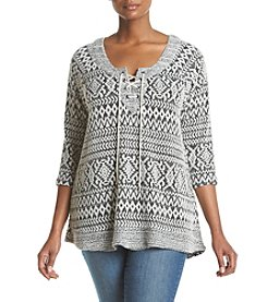 Oneworld® Plus Size Lace Up Sweater