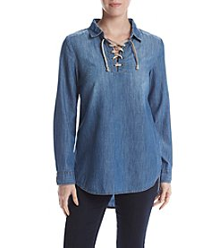Ruf Hewn Petites' Lace Up Chambray Top