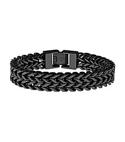 Black-plated Stainless Steel Two-Strand Wheat Chain Bracelet