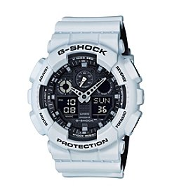 G-Shock Men's White Analog-Digital Watch with Layered Resin Band