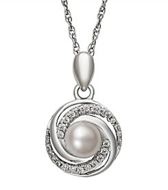 .925 Sterling Silver Cultured Freshwater Pearl & Cubic Zirconia Pendant Necklace