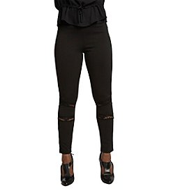 Poetic Justice Janet Curvy Women's Leggings with Ponte and Lace