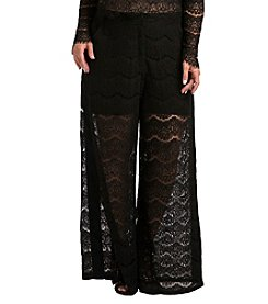 Standard & Practices Plus Size April Lace and Peachskin Palazzo Pants