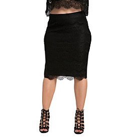 Standard & Practices Plus Size Tori Lace and Ponte Long Skirt
