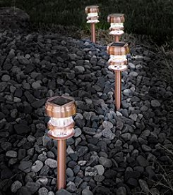 Pure Garden Set of 4 Copper Solar Powered LED Path Lights