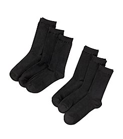 Relativity® 6-pack Flat Knit Crew Socks