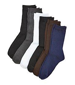 Relativity® 6-pack Flat Knit Crew Socks