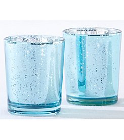 Kate Aspen Set of 12 Light Blue Mercury Glass Tea Light Holders
