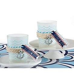 Kate Aspen Set of 12 Nautical Frosted Glass Tea Light Holders with Anchor Charm