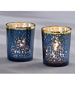 Kate Aspen Set of 12 Blue Mercury Glass Tea Light Holders