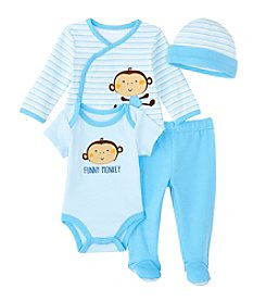 Cuddle Bear® Baby Boys' 4 Piece Monkey Gifting Set