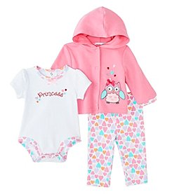 Cuddle Bear® Baby Girls' 3 Piece Owl Hoodie Gifting Set