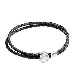 Black Woven Leather and Stainless Steel Bracelet