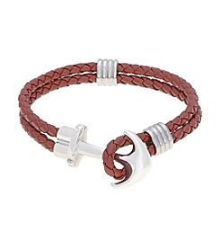 Brown Braided Leather Bracelet with Stainless Steel Anchor Clasp