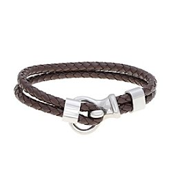 Dark Brown Double-Braided Leather Bracelet with Stainless Steel Clasp