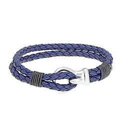 Blue Double-Braided Leather Bracelet with Stainless Steel Clasp