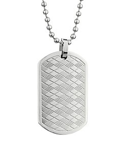 Stainless Steel Texture Dog Tag Pendant Necklace
