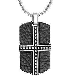 Black-plated Stainless Steel Dog Tag Pendant Necklace with Hammered Texture