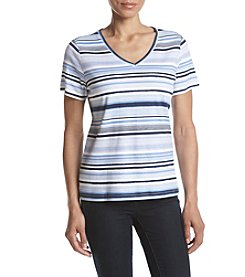 Studio Works® Petites' Striped V-Neck Tee