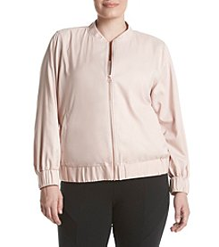 Ruff Hewn GREY Plus Size Zip Front Bomber Jacket