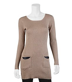 A. Byer Faux Leather Trim Pocket Tunic
