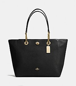 COACH TURNLOCK CHAIN TOTE IN POLISHED PEBBLED LEATHER