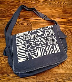 Detroit Scroll Printed Messenger Bag