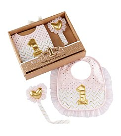Baby Aspen My First Birthday Pink and Gold Pacifier Clip and Bib Set