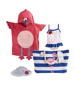 Baby Aspen 4 Piece Nautical Flamingo Gift Set with Canvas Tote for Mom