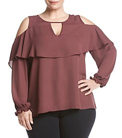 Eyeshadow® Plus Size Cold-Shoulder Popover Top