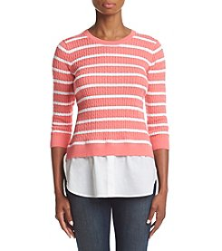 Jeanne Pierre® Striped Layered Look Top