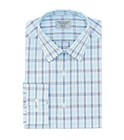 John Bartlett Statements Men's Flexible Collar Stretch Slim Fit Spread Collar Grid Dress Shirt