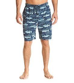John Bartlett Statements Men's Blue Fish Knit Sleep Shorts