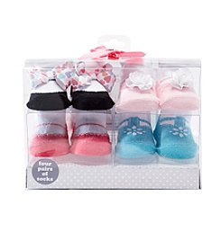 Cuddle Bear® Baby Girls' 4-Pack Dress Socks