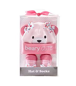 Cuddle Bear® Baby Girls' Bear Cap And Sock Set