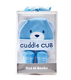 Cuddle Bear® Baby Boys Bear Cap And Sock Set