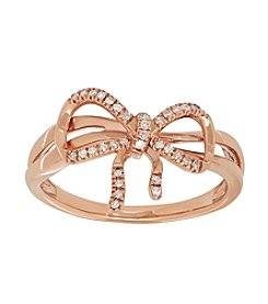 0.10 ct. t.w. Bow Diamond Ring in 10K Rose Gold