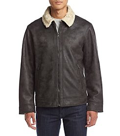 Nautica Men's Big & Tall Distressed Faux Shearling Jacket with Faux Fur Lining
